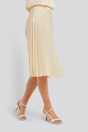 Pleated midi skirt Bianca beige