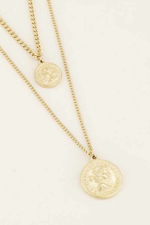 Double necklace muntjes goud