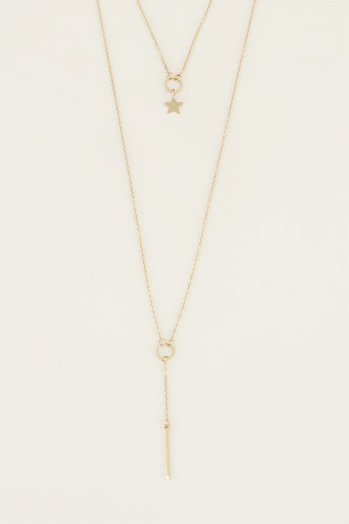 Double necklace staafje en ster goud