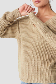 Knit Sarah v-neck beige