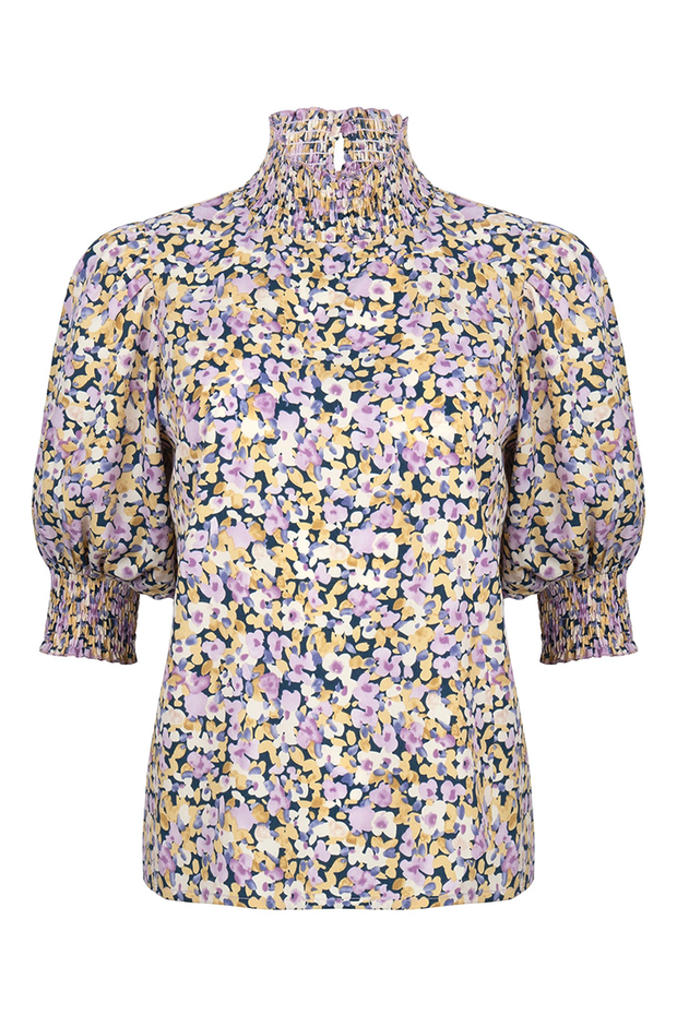 Top Camille lilac flower print