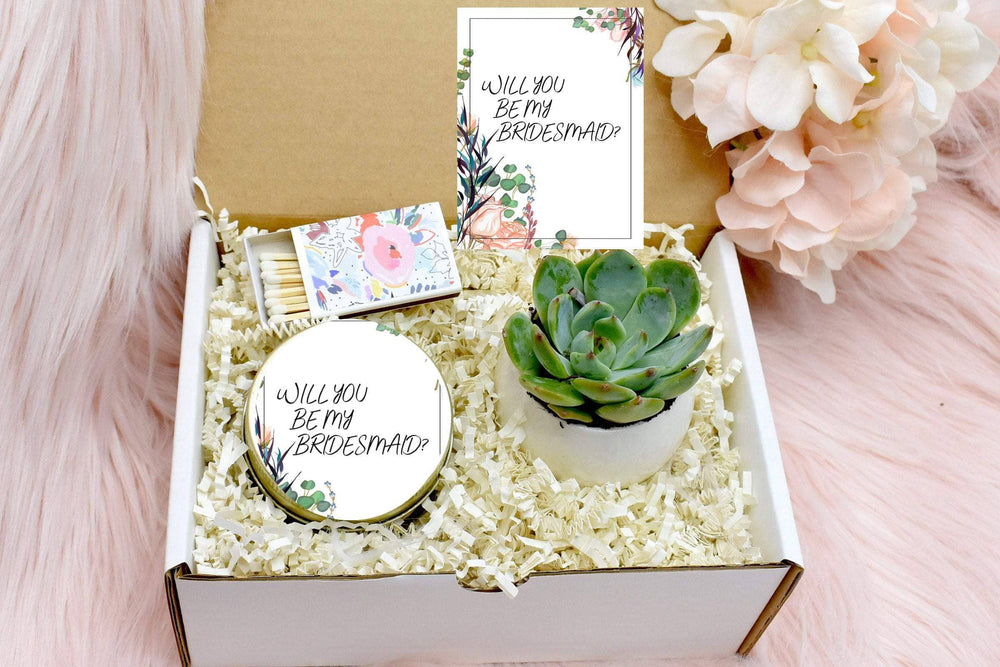 Bridesmaid Proposal Gift Box with Live Succulent (XBN5)