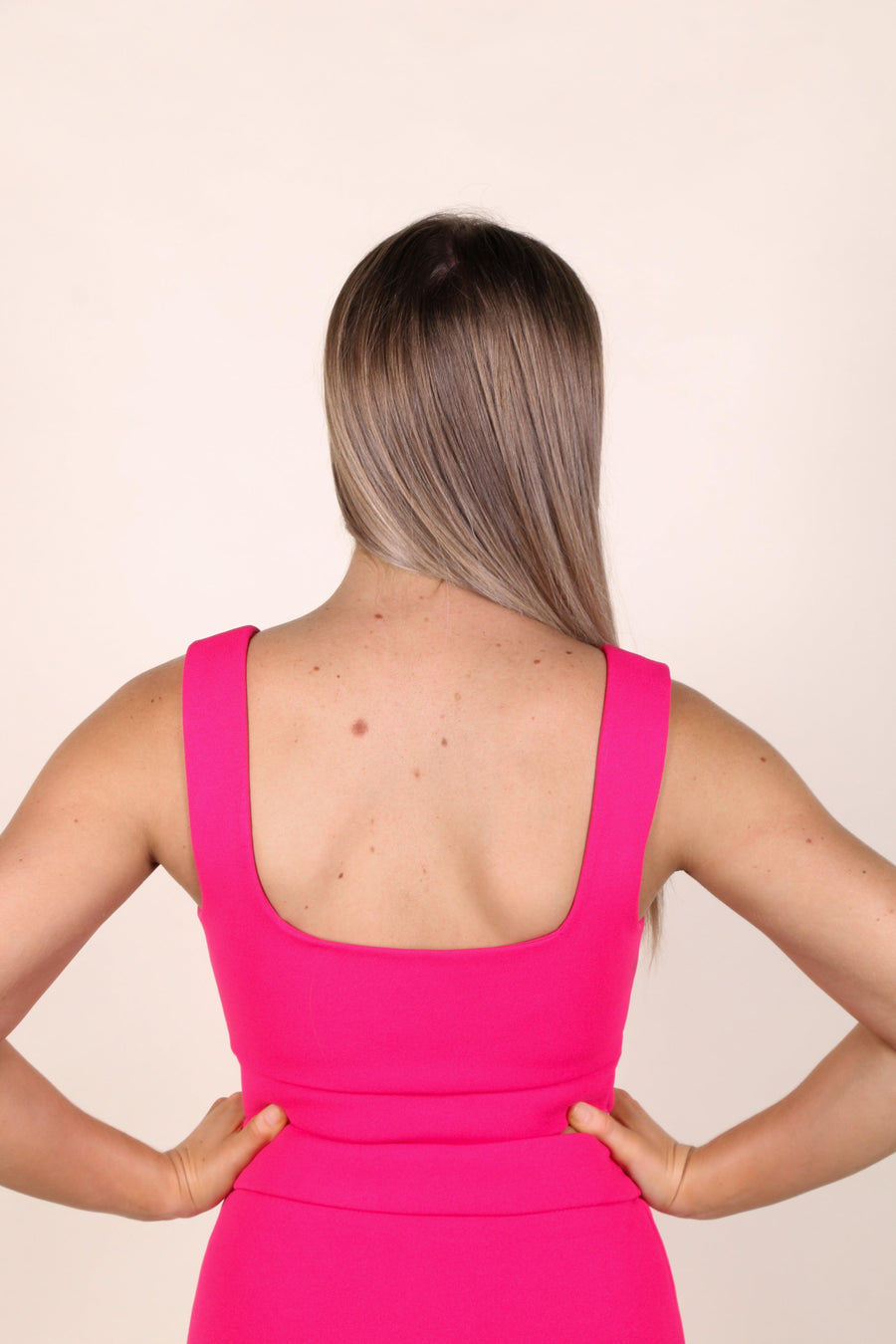 SQUARE NECK TOP PINK