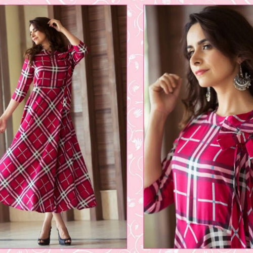 Office Wear Pink Color Printed Cotton Kurti