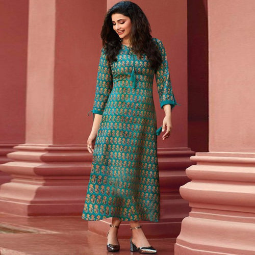 Turquoise Color Celebrity Look Kurti