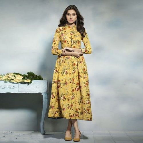 Party Wear Yellow Color Printed Kurti