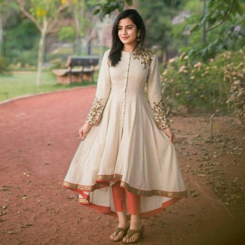 Casual Wear Beige Colored Magnetic Cotton Kurti