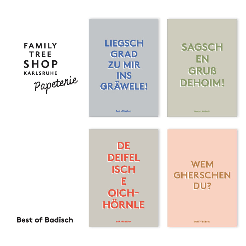 4er-Set Postkarten / Best of Badisch