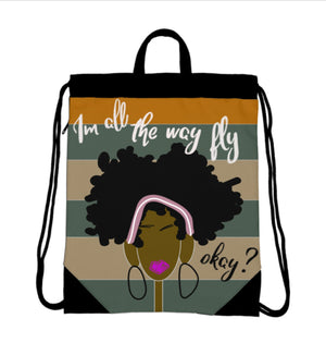 All the way Fly Drawstring Bag