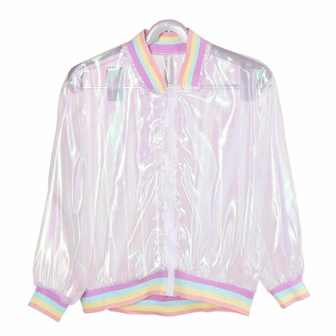 Hologram Transparent Bomber Jacket