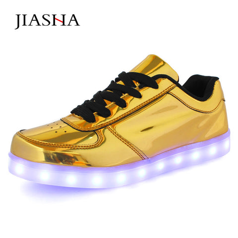 Gold or Silver Low Top LED Light Up Casual Shuffle Sneakers