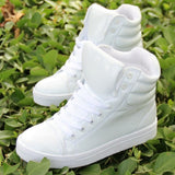 Shiny Faux Leather Bubble Back High Tops