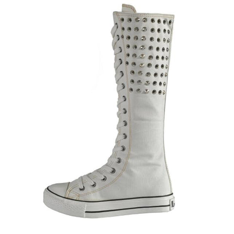 Knee High Rivet Back Canvas Boots