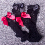 Bow Fishnet Ankle High Socks