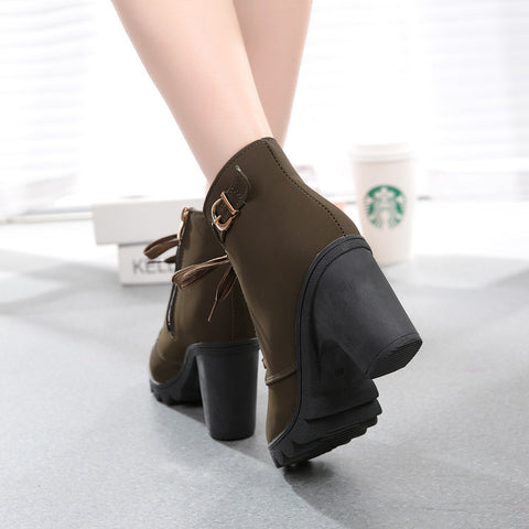 High Heel Lace Up Ankle Boots  Buckle Platform Shoes
