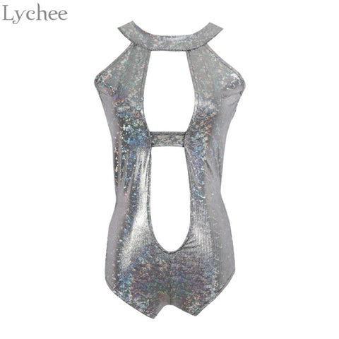 Holographic Hollow Out Sleeveless Choker Bodysuit