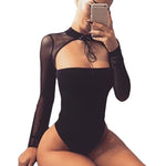 Long Sleeve Halter Choker Cut Out Bodysuit