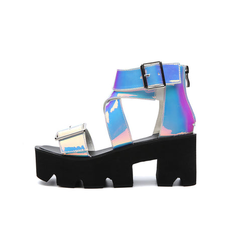 Holographic Platform Strapped Sandals