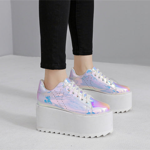 High Platform Go Go Holographic Sneakers