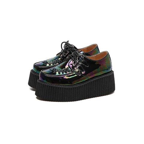 High Platform Creeper Sneakers (Black, White or Oil Slick)