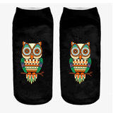 Neon Owl Printed Low Cut Ankle Socks