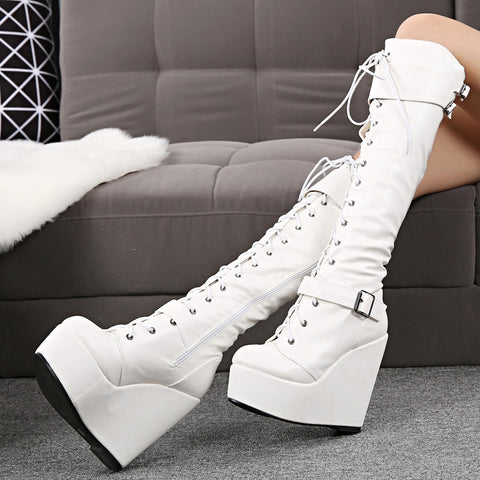 Knee High Platform Wedge Heel Boots