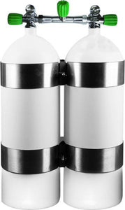 OMS - Twinset Steel Cylinders 15 litre, CONCAVE 230 bar, EU Nitrox, DIR Style
