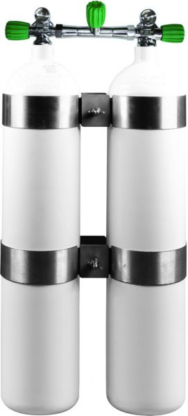OMS - Twinset Steel Cylinders 8,5 litre, 230 bar, EU Nitrox, DIR Style - stainless steel wide distance tank bands and rubber knobs