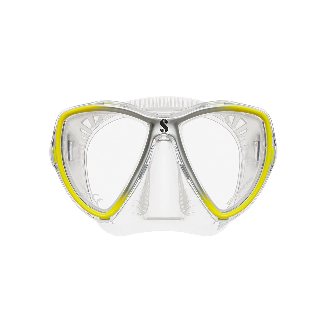 SCUBAPRO SYNERGY MINI DIVE MASK CLEAR SKIRT CLEAR/YELLOW/SILVER
