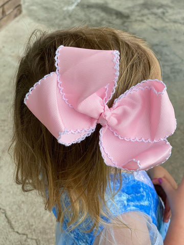 "pink and white 6"" moonstitch bows"