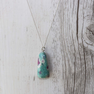Ruby Fuchsite Crystal Necklace - Vintage Rose Handmade Jewellery