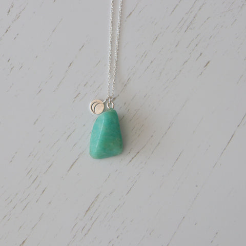 Amazonite crystal charm necklace | Vintage Rose Handmade | Sterling silver