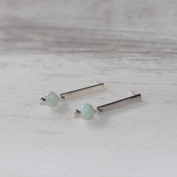 Ocean drop earring | Amazonite crystal bead | Sterling silver dangling studs