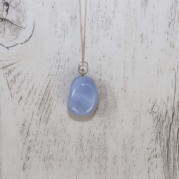 Blue Lace Agate Crystal Necklace - Vintage Rose Handmade Jewellery