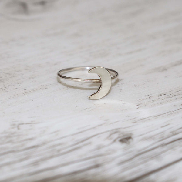 Crescent Moon Ring - Vintage Rose Handmade Jewellery