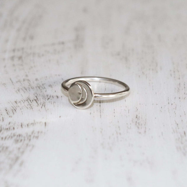 Crescent Moon Stamped Ring - Vintage Rose Handmade Jewellery