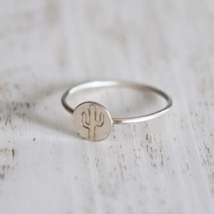 Cactus Stamped Ring - Vintage Rose Handmade Jewellery