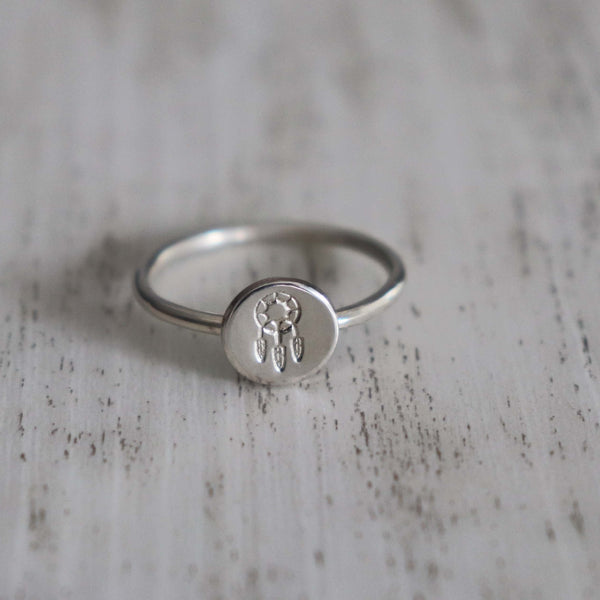 Dreamcatcher Stamped Ring - Vintage Rose Handmade Jewellery