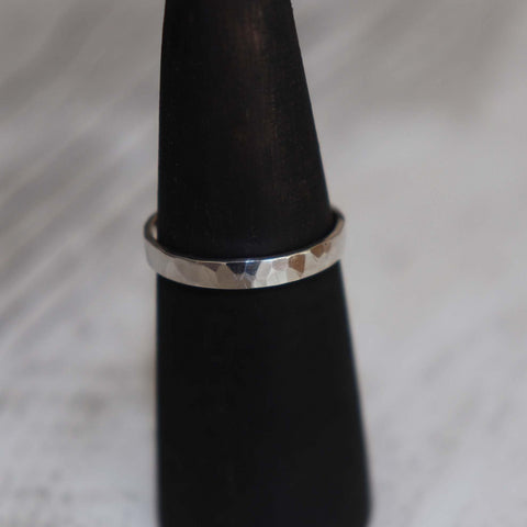 Silver Hammered Ring - Vintage Rose Handmade Jewellery