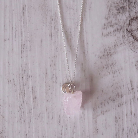Rose Quartz Charm Necklace - Vintage Rose Handmade Jewellery