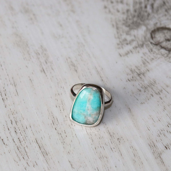 Amazonite Ring - Vintage Rose Handmade Jewellery