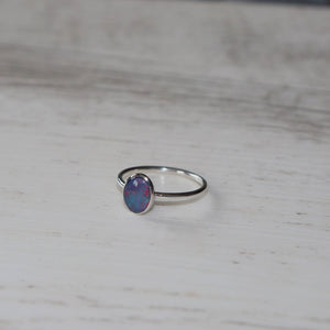 opal ring sterling silver size AUS R | Vintage rose handmade jewellery