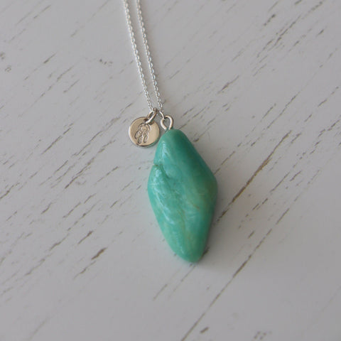 Amazonite Crystal Charm Necklace - Vintage Rose Handmade Jewellery