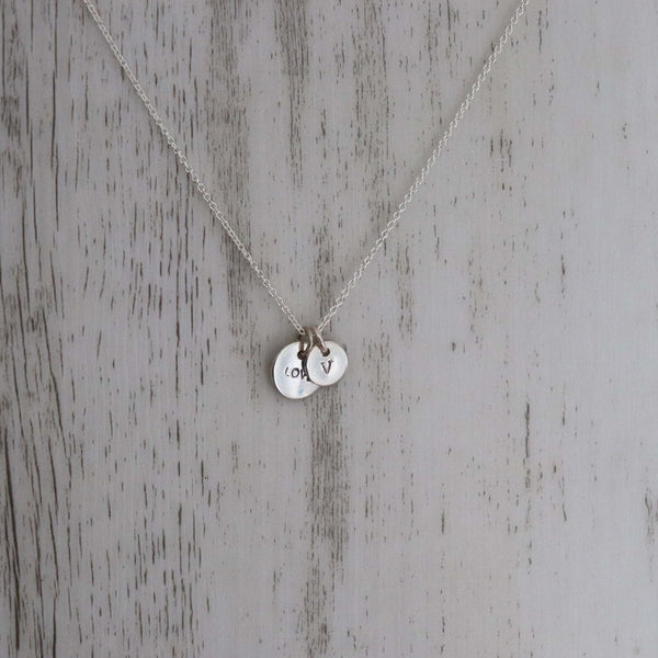 LOVE + Initial charm necklace - Vintage Rose Handmade Jewellery