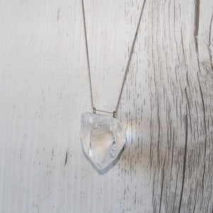 Clear Quartz double drilled necklace - Vintage Rose Handmade Jewellery