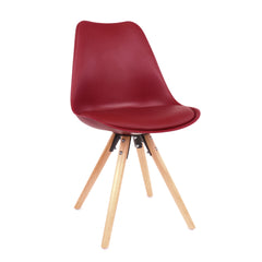 Viborg Wine Red Mid Century Side Chair Natural Base (Set of 2)