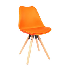 Viborg Orange Mid Century Side Chair Natural Base (Set of 2)