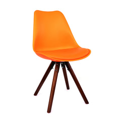 Viborg Orange Mid Century Side Chair Walnut Base (Set of 2)