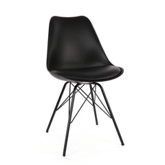 Viborg Black Mid Century Side Chair Black Metal Base (Set of 2)
