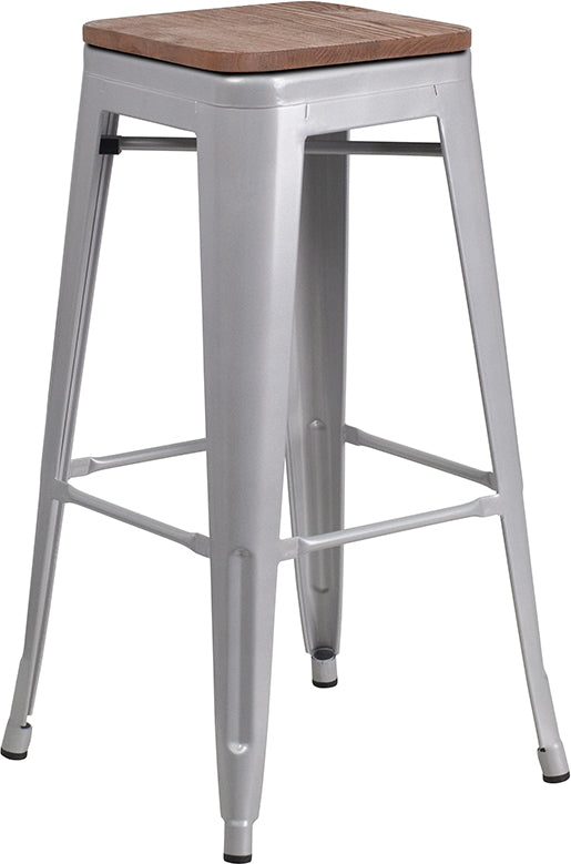 "30"" High Backless Silver Metal Barstool with Square Wood Seat"